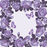 Bloemenkaartmalplaatje met violette rozen en vlinders Mooi frame vector illustratie