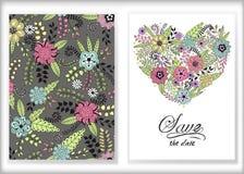 Bloemenkaartontwerp, bloemen en de elementen van de bladkrabbel leuk Stock Foto