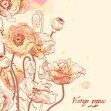 Bloemenkaartwijnoogst. Stock Afbeelding
