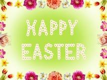 Bloemenkader met de lentebloemen en gelukkige Pasen-teksten Stock Fotografie