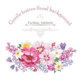 Bloemenkader met de zomerbloemen Bloemen boeket met rozen royalty-vrije illustratie