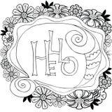 Bloemenkader met met de hand gemaakte kalligrafie en tekst Hello Vector illustratie vector illustratie