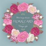 Bloemenkader met rozen en pioenen Uitstekende kaart Stock Afbeelding