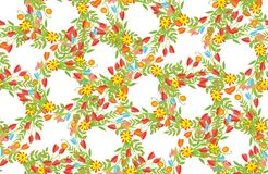 Bloemenkader van leuke retro bloemen Stock Fotografie