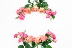 Bloemenkader van rozen, knoppen en groene bladeren op witte achtergrond Vlak leg, hoogste mening De achtergrond van de lente Stock Fotografie