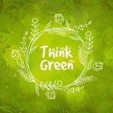 Bloemenkader voor Groen Think Stock Foto's