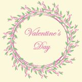 Bloemenkader voor prentbriefkaarontwerp, huwelijksuitnodigingen, Valentin-dag, verjaardag, moeder` s dag stock illustratie