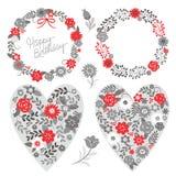 Bloemenkaders en grafische elementen, grijs en rood Stock Afbeelding
