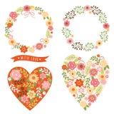 Bloemenkaders en hart met bloemen Stock Fotografie