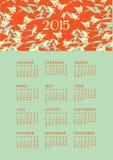2015 Bloemenkalender Stock Fotografie