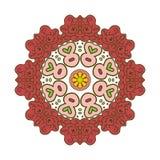 Bloemenkantmotieven mandala Zentanglontspanning Stock Afbeelding