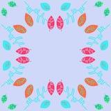 Bloemenkleurenpatroon met bladeren, exemplaarruimte royalty-vrije stock foto's