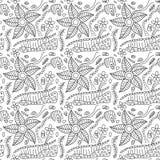 Bloemenkrabbelspatroon Stock Afbeelding