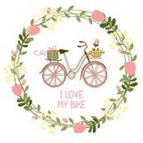 Bloemenkroon en fiets royalty-vrije illustratie