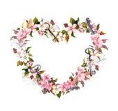 Bloemenkroon - hartvorm Roze bloemen, veren, sleutels Waterverf voor Valentine-dag, huwelijk Royalty-vrije Stock Fotografie