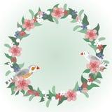Bloemenkroon met gestreepte finchesvogels Stock Afbeeldingen