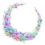 Bloemenkroon van roze, klokje, kruiden, lobelia, vergeet-mij-nietjebloem Stock Foto's