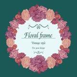 Bloemenkroon van verschillende bloemen in uitstekende stijl Stock Afbeelding