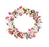 Bloemenkroonkader - roze bloemen, bohoveren, harten en uitstekende sleutels Waterverf voor Valentine-dag, huwelijk Stock Foto