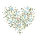 Bloemenliefdeboeket voor uw ontwerp, hartvorm Stock Foto
