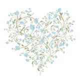 Bloemenliefdeboeket voor uw ontwerp, hartvorm royalty-vrije illustratie