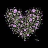 Bloemenliefdeboeket voor uw ontwerp, hartvorm Royalty-vrije Stock Foto's