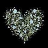 Bloemenliefdeboeket voor uw ontwerp, hartvorm Stock Afbeelding
