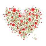 Bloemenliefdeboeket voor uw ontwerp, hartvorm Royalty-vrije Stock Afbeeldingen