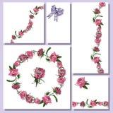 Bloemenmalplaatjes met hand getrokken bossen van roze roze bloemen en lilac boog Elementen voor romantisch ontwerp, aankondiginge stock illustratie