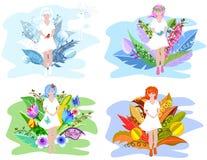 Bloemenmeisjes Het concept van de vier seizoenenabstractie voor uw ontwerp met surreal bloemen royalty-vrije illustratie