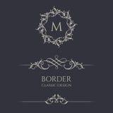 Bloemenmonogrammen en grenzen Royalty-vrije Stock Afbeelding