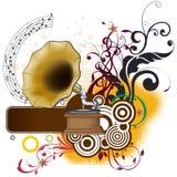 Bloemenmuziek Vectorontwerp Stock Afbeelding