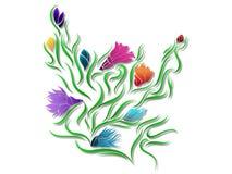 Bloemenontwerp - de Digitale Illustratie van het Bloempatroon Stock Afbeelding