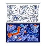 Bloemenontwerp met twee duiven Royalty-vrije Stock Foto