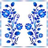 Bloemenornament in Gzhel-stijl Twee stammen met bloemen in kader Russische folklore Royalty-vrije Stock Afbeelding