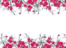 Bloemenornament horizontaal vectorkader Stock Afbeeldingen