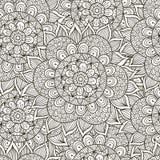 Bloemenornament Naadloos Patroon Zwart-witte ronde ornamenttextuur Stock Fotografie