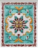 Bloemenornament op tegels Royalty-vrije Stock Afbeeldingen
