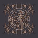 Bloemenornament voor gebrandschilderd glasvenster royalty-vrije illustratie