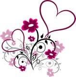 Bloemenornamenten met harten vector illustratie