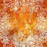 Bloemenpatroon bij Olieverf het Schilderen Stock Afbeeldingen