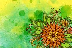Bloemenpatroon bij Waterverf het Schilderen Royalty-vrije Stock Foto