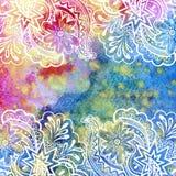 Bloemenpatroon bij Waterverf het Schilderen Stock Afbeeldingen