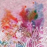 Bloemenpatroon bij Waterverf het Schilderen Stock Foto's