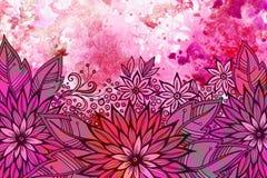 Bloemenpatroon bij Waterverf het Schilderen Stock Foto