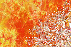 Bloemenpatroon bij Waterverf het Schilderen Royalty-vrije Stock Afbeeldingen