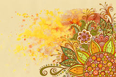 Bloemenpatroon bij Waterverf het Schilderen Stock Afbeelding
