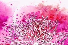 Bloemenpatroon bij Waterverf het Schilderen Royalty-vrije Stock Fotografie
