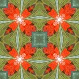 Bloemenpatroon in de stijl van het gebrandschilderd glasvenster U kunt gebruiken het voor Royalty-vrije Stock Afbeeldingen