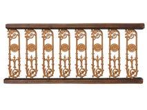 Bloemenpatroon goldenand houten die omheining over wit wordt geïsoleerd Royalty-vrije Stock Foto's